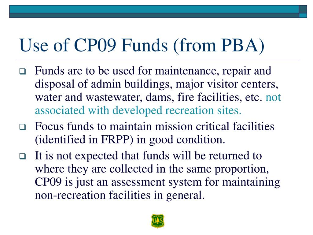 Use of CP09 Funds (from PBA)