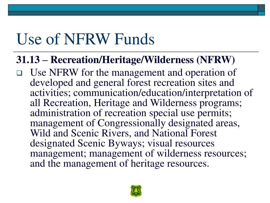 Use of NFRW Funds