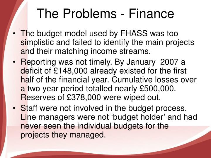 The problems finance