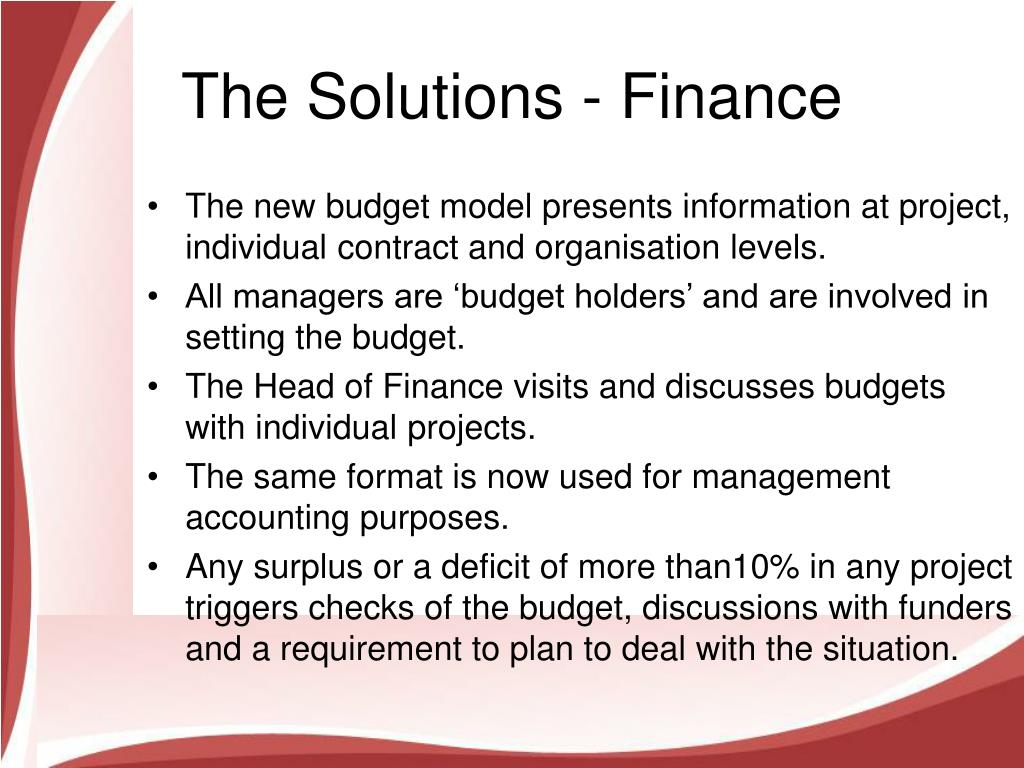The Solutions - Finance