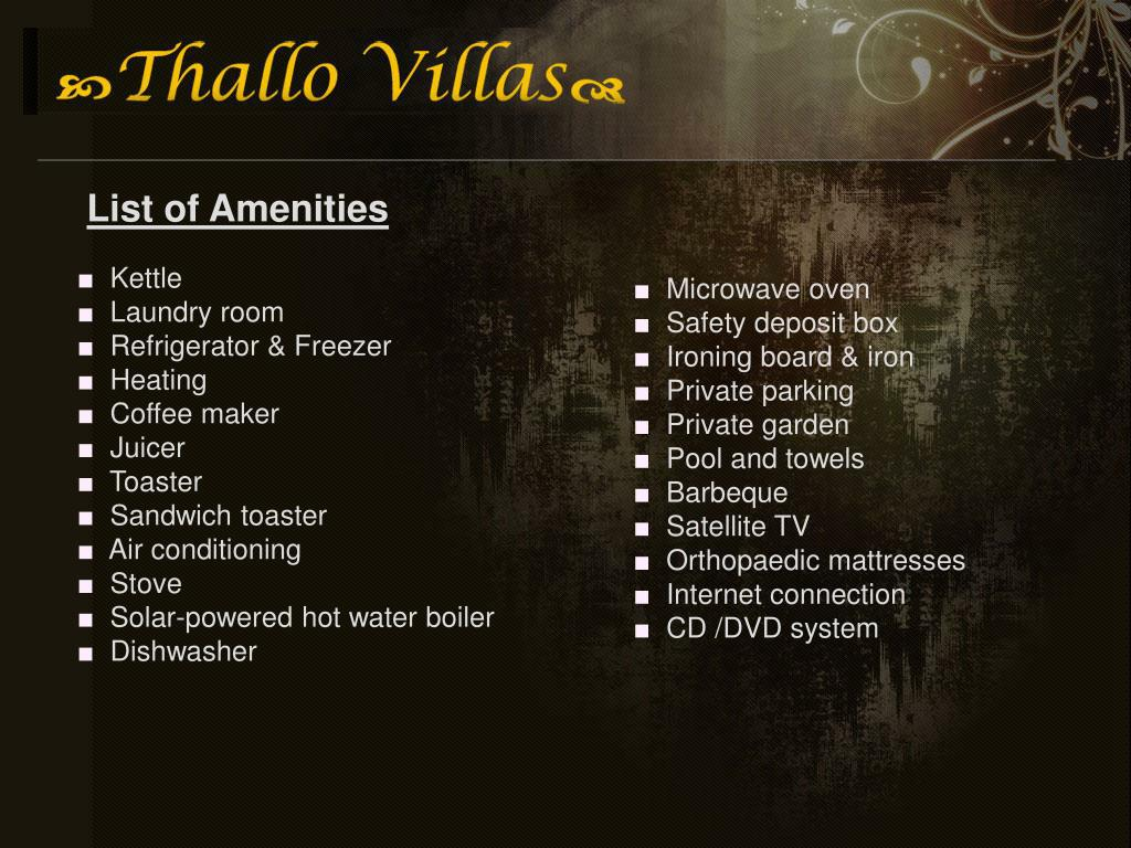 List of Amenities