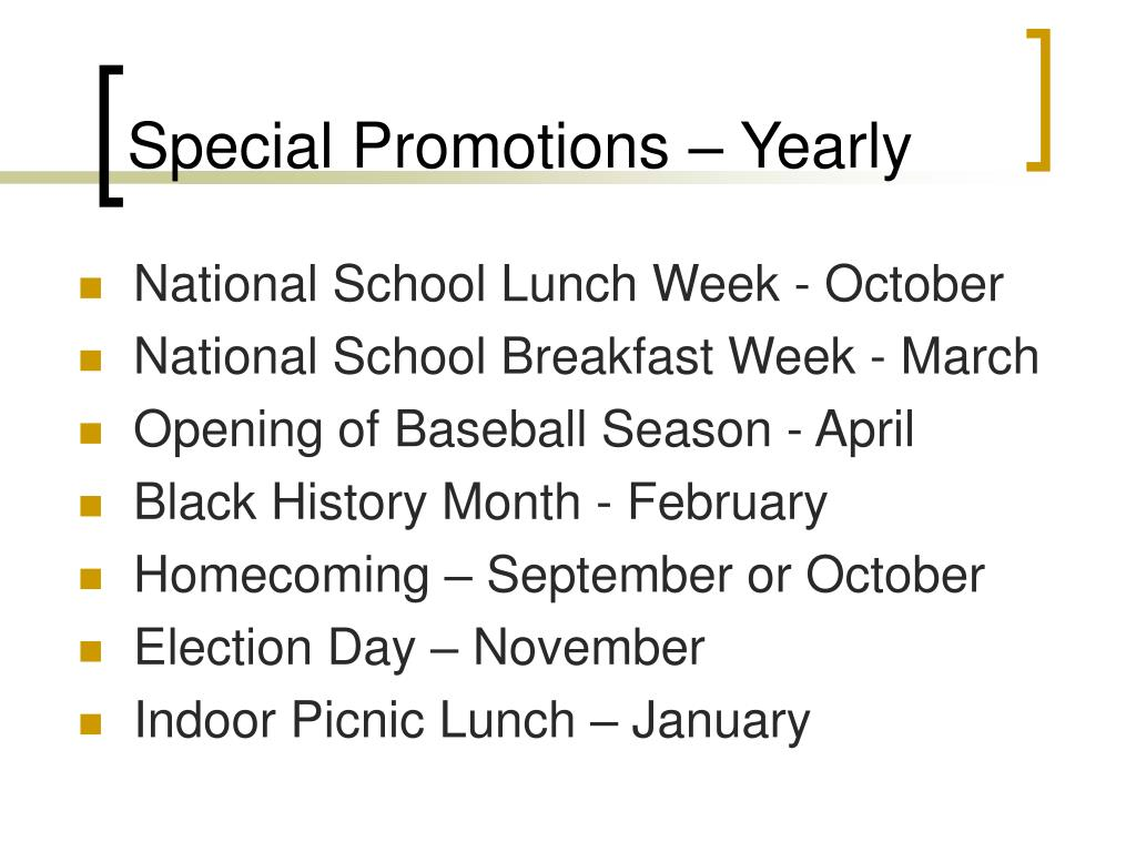 Special Promotions – Yearly