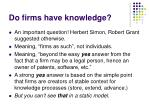 do firms have knowledge
