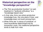 historical perspective on the knowledge perspective