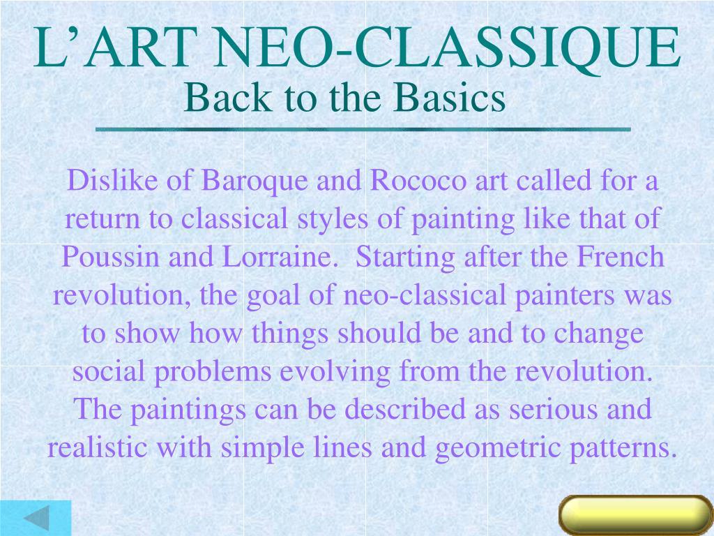 L'ART NEO-CLASSIQUE