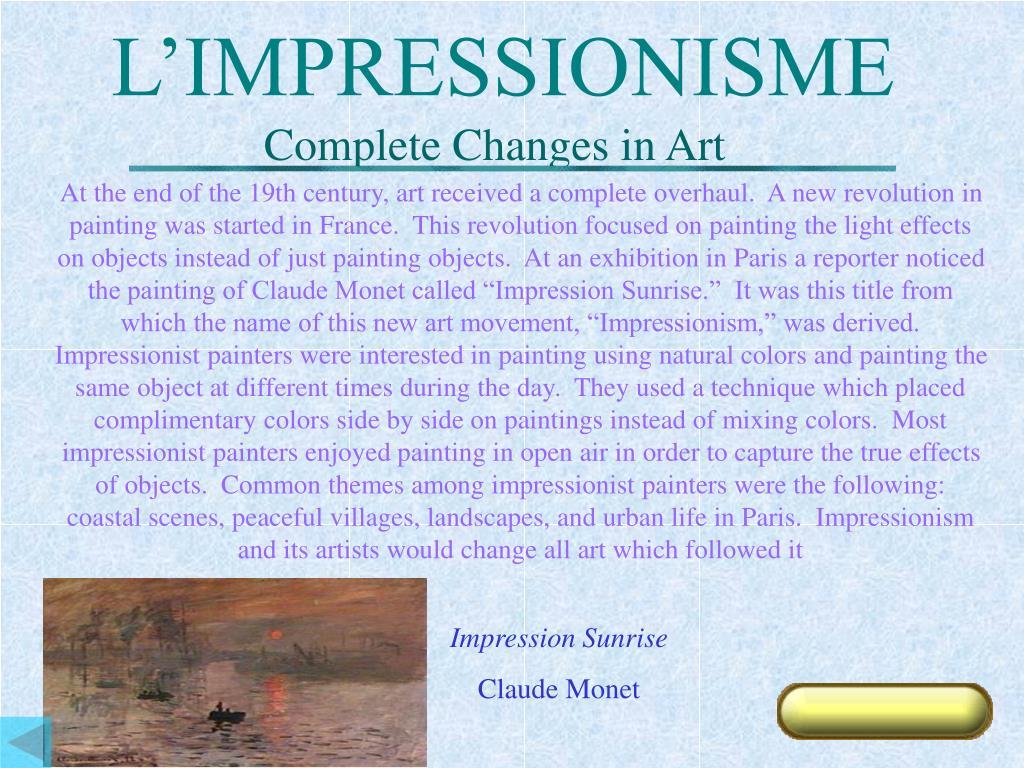 L'IMPRESSIONISME