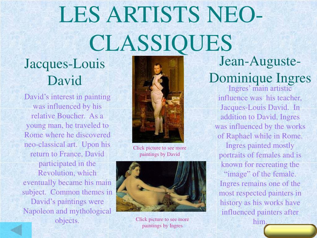 LES ARTISTS NEO-CLASSIQUES