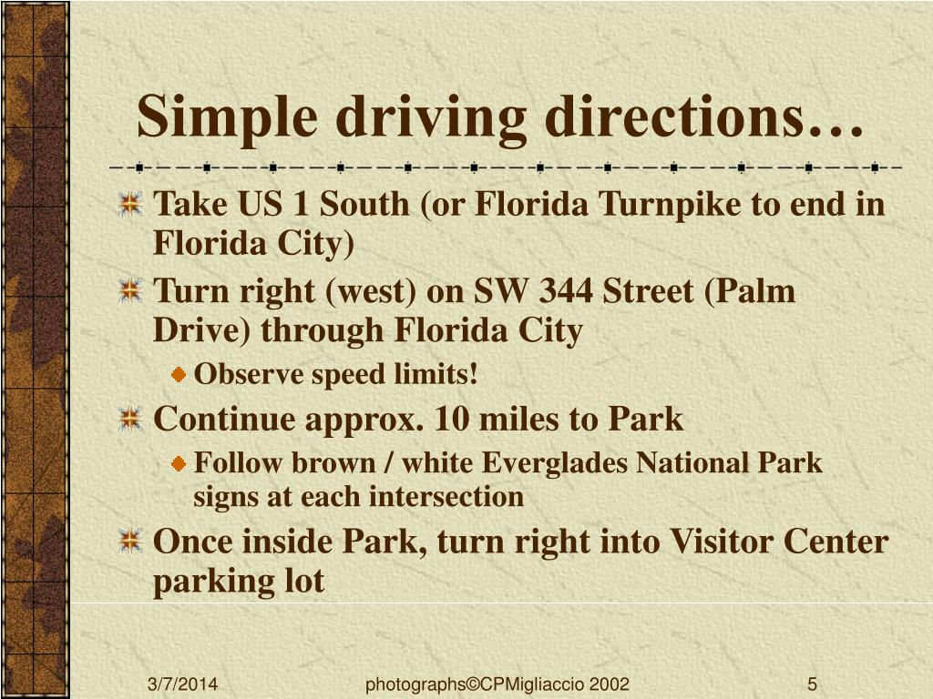 Simple driving directions…