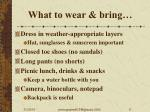 what to wear bring
