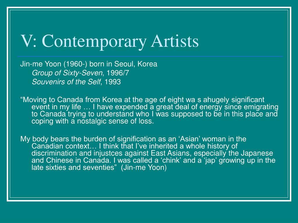 V: Contemporary Artists