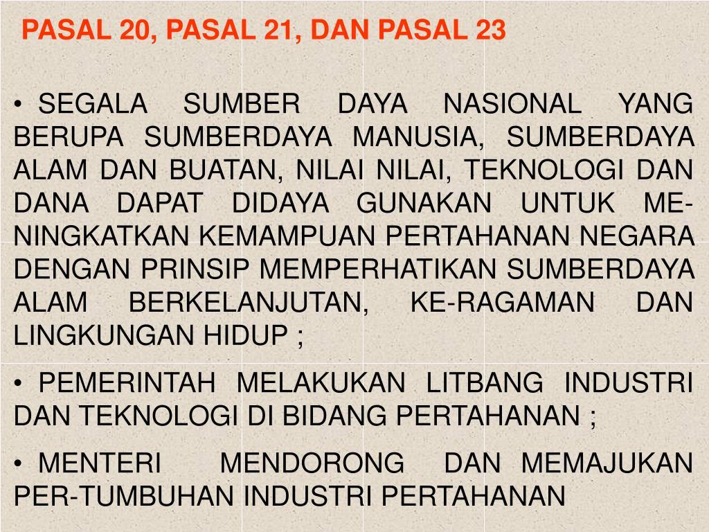 PASAL 20, PASAL 21, DAN PASAL 23