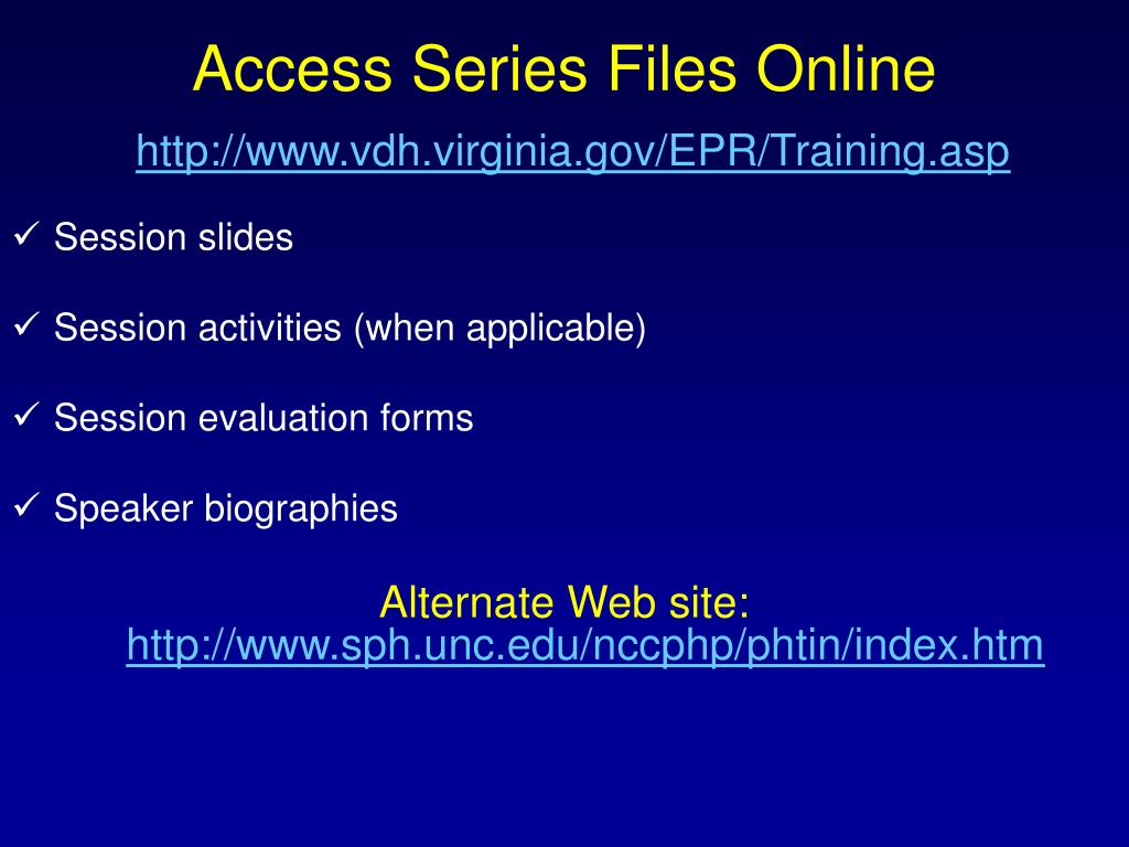 Access Series Files Online