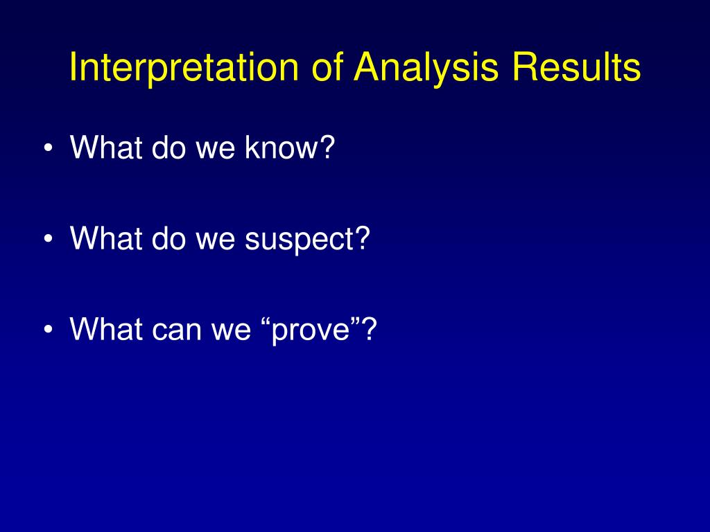 Interpretation of Analysis Results