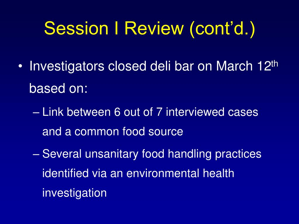 Session I Review (cont'd.)
