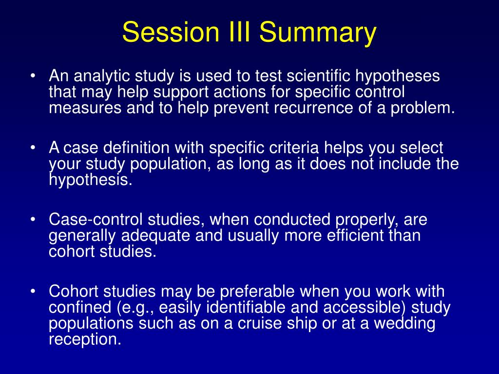 Session III Summary