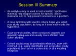session iii summary101