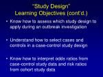 study design learning objectives cont d