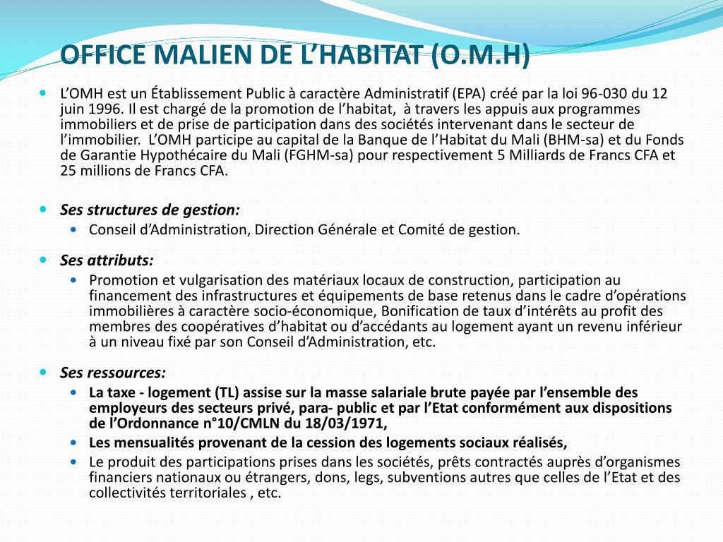 Ppt presentation office malien de l habitat o m h for Malien de l exterieur