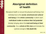 aboriginal definition of health