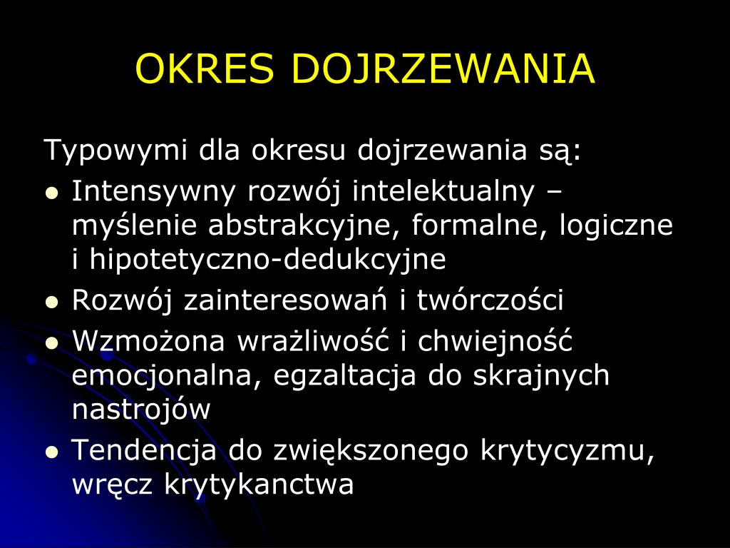 OKRES DOJRZEWANIA
