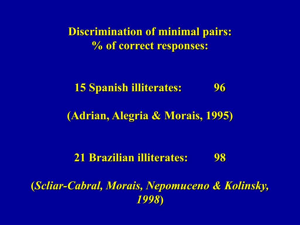 Discrimination of minimal pairs: