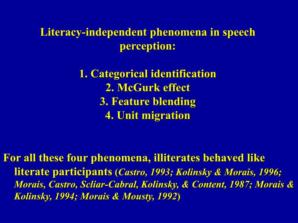 Literacy-independent phenomena in speech perception: