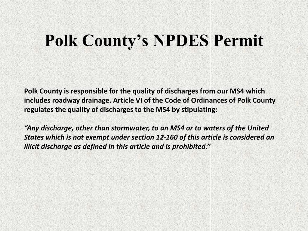 Polk County's NPDES Permit