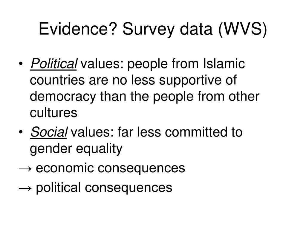 Evidence? Survey data (WVS)