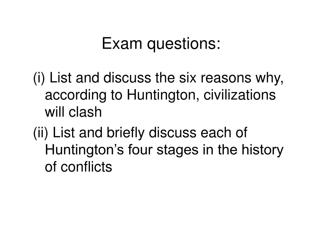 Exam questions: