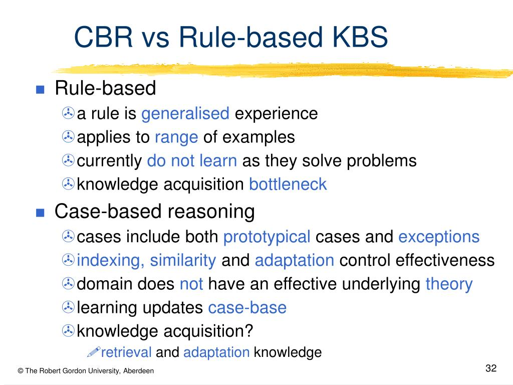 CBR vs Rule-based KBS
