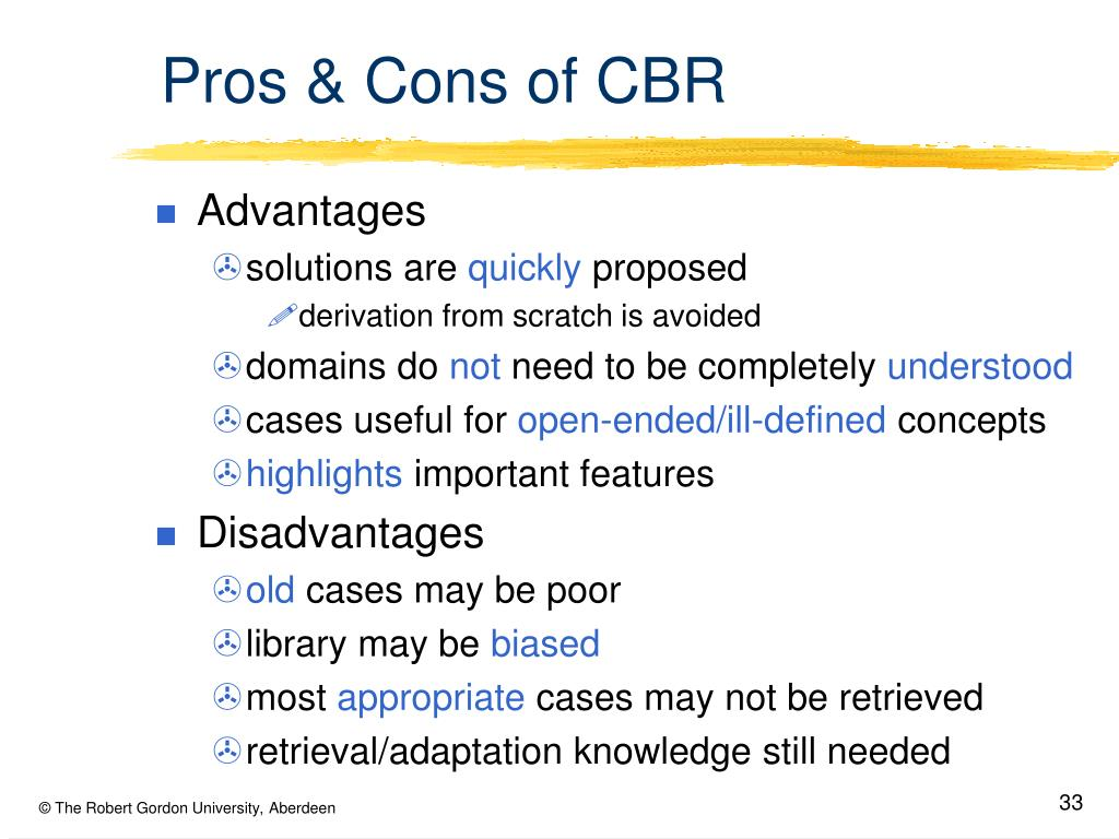 Pros & Cons of CBR