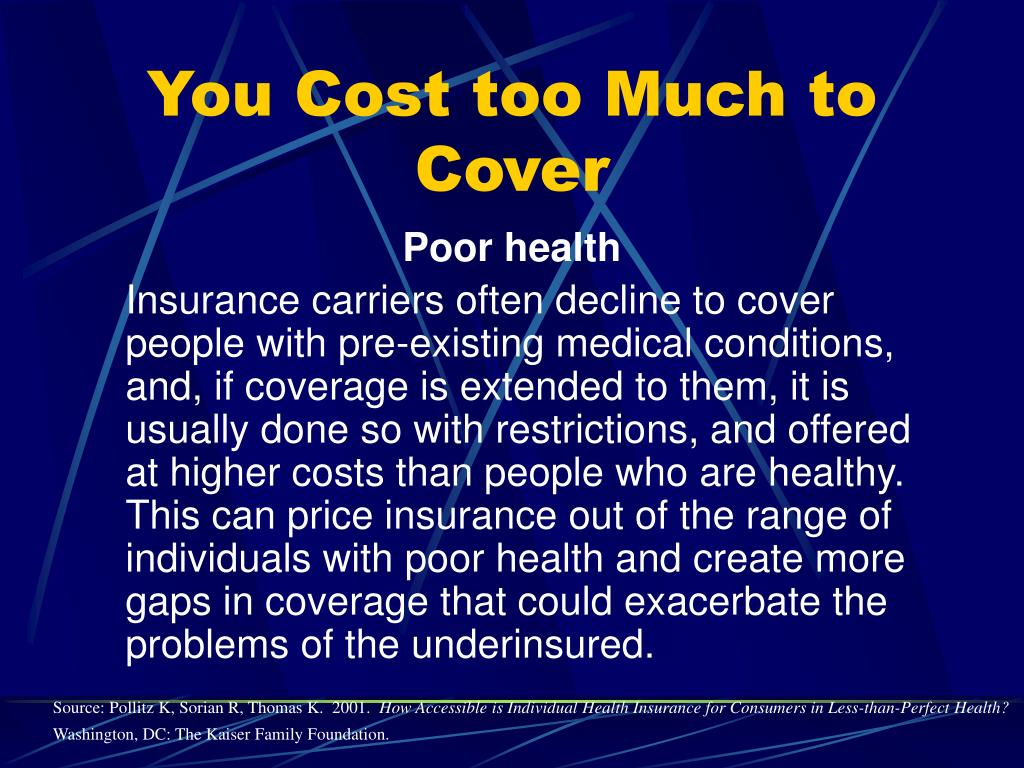 You Cost too Much to Cover