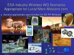 esa industry wireless wg scenarios appropriate for lunar mars missions cont