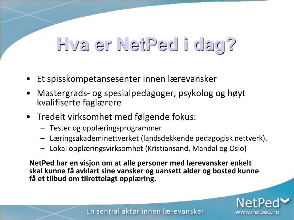 Hva er NetPed i dag?