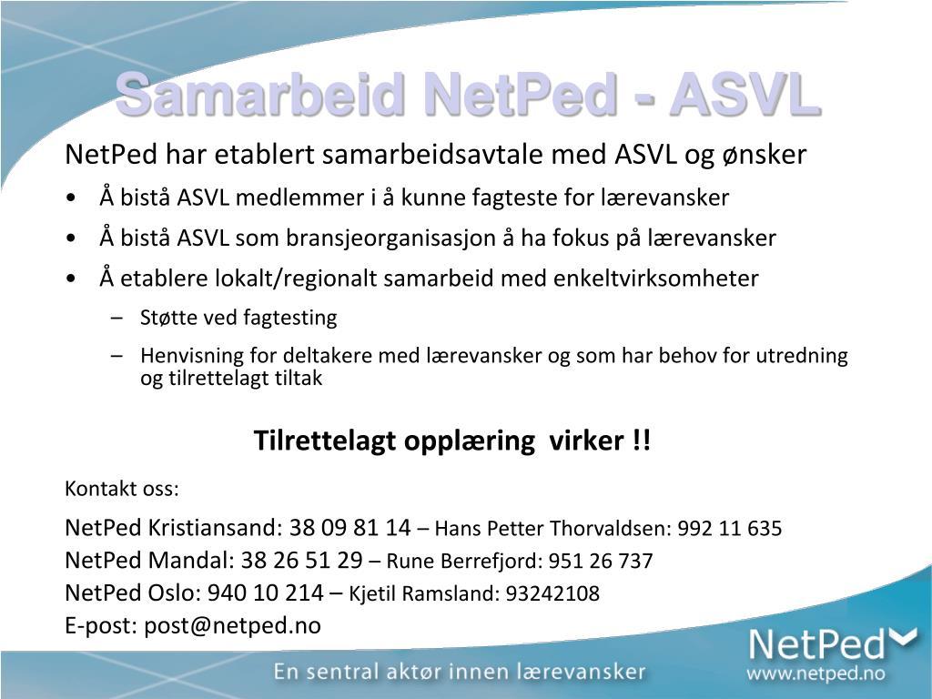Samarbeid NetPed - ASVL