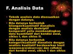 f analisis data