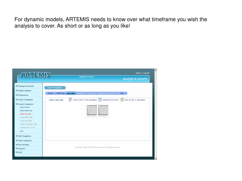 For dynamic models, ARTEMIS needs to know over what timeframe you wish the analysis to cover. As short or as long as you like!