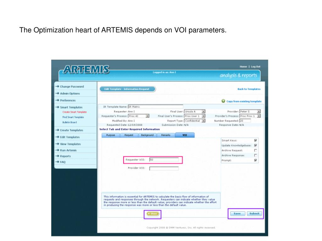 The Optimization heart of ARTEMIS depends on VOI parameters.