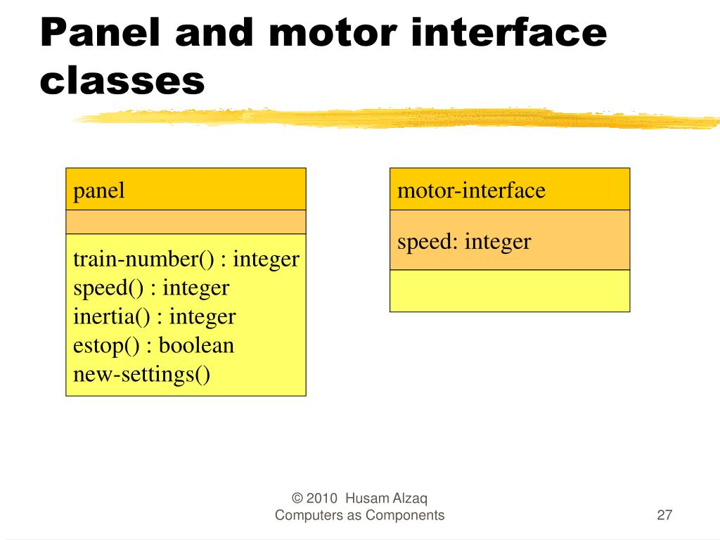 Panel and motor interface classes