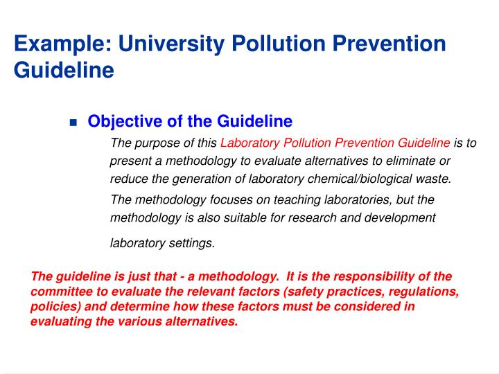 Example university pollution prevention guideline