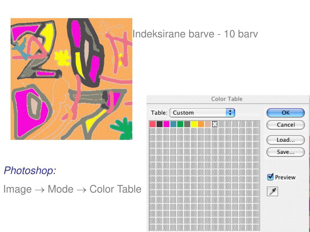 Indeksirane barve - 10 barv