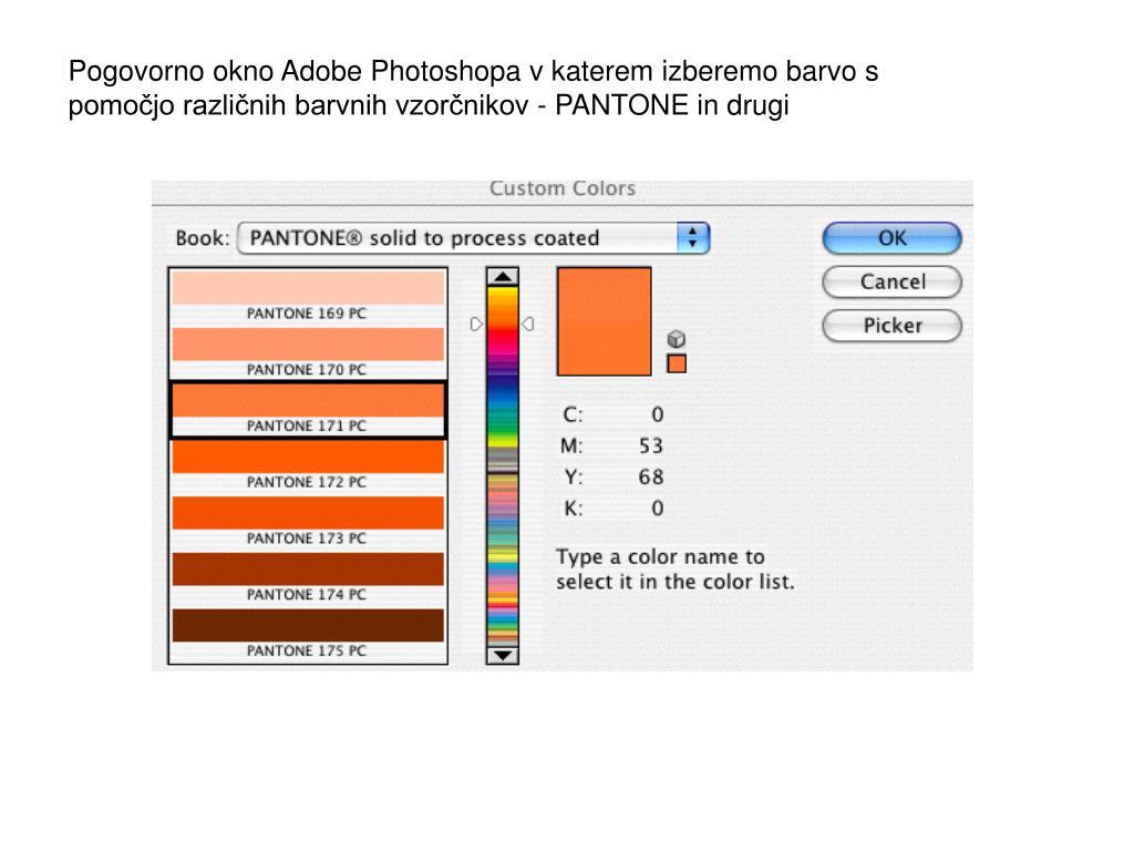 Pogovorno okno Adobe Photoshopa v katerem izberemo barvo s pomočjo različnih barvnih vzorčnikov - PANTONE in drugi