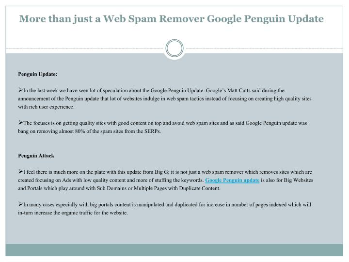 More than just a web spam remover google penguin update