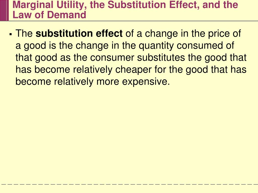 Marginal Utility, the Substitution Effect, and the Law of Demand