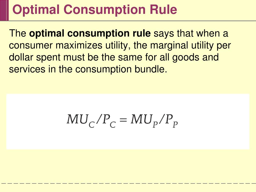 Optimal Consumption Rule