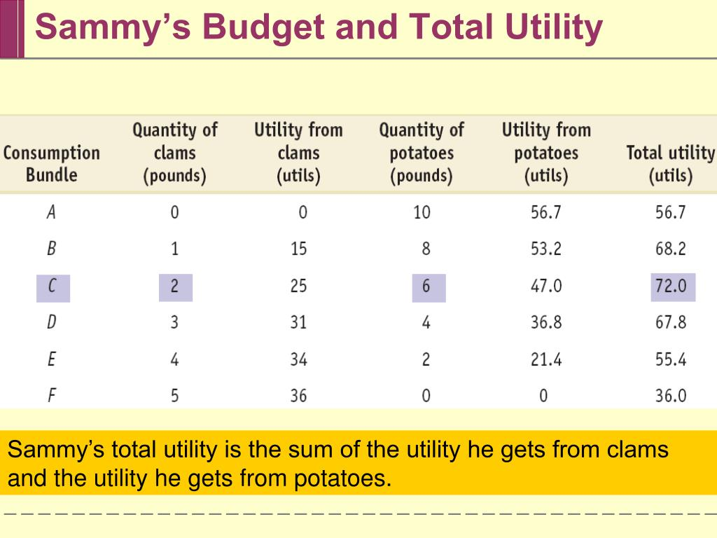 Sammy's Budget and Total Utility