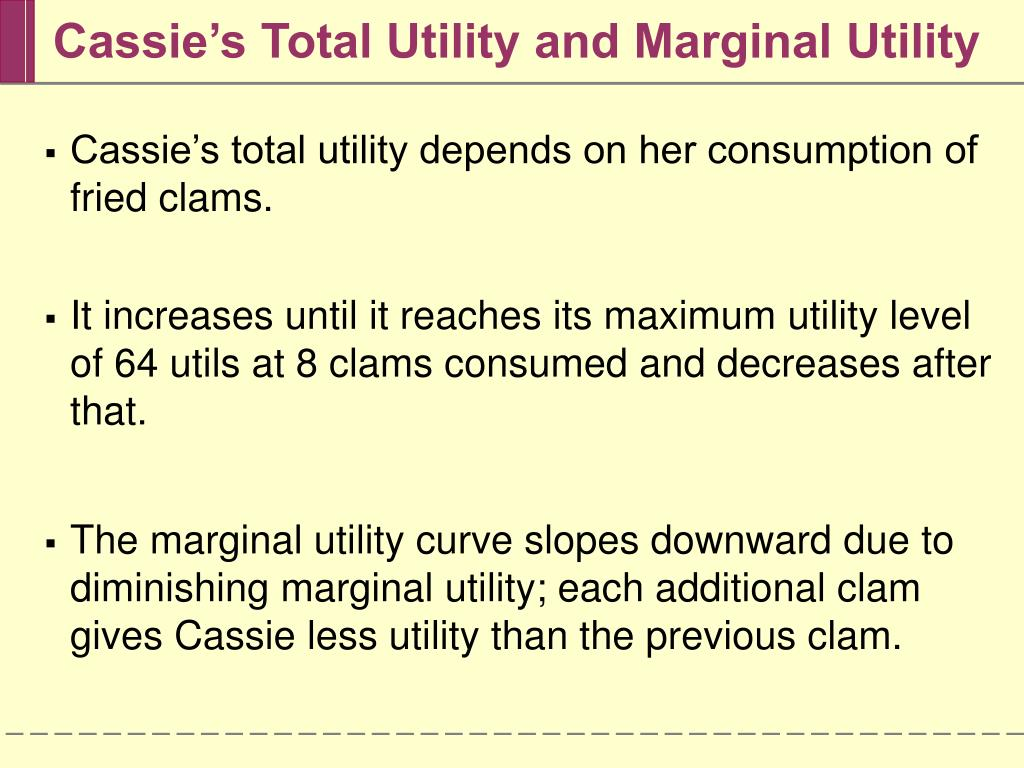 Cassie's Total Utility and Marginal Utility