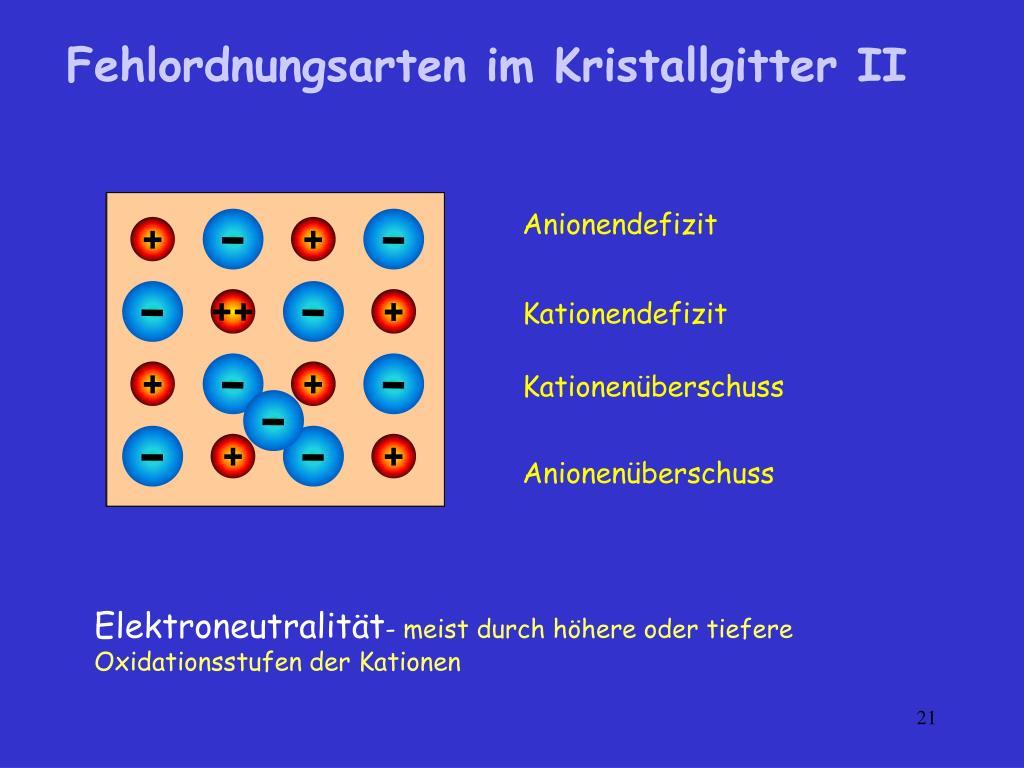 Fehlordnungsarten im Kristallgitter II