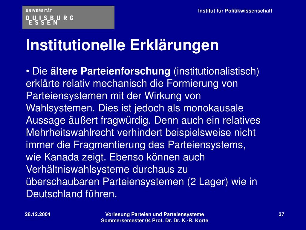 Institutionelle Erklärungen