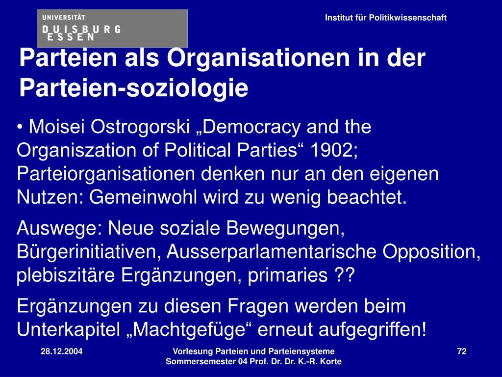 Parteien als Organisationen in der Parteien-soziologie
